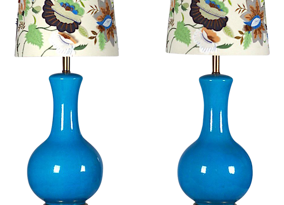 Mid Century Large Blue Table Lamps-A Pair