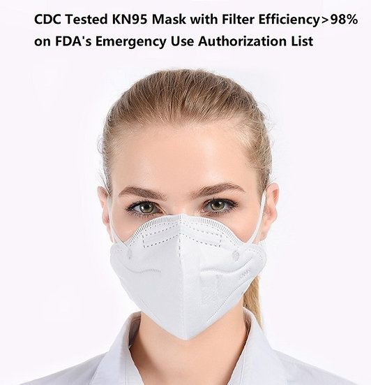 20 Pack KN95  Respirators CDC Tested Filter Efficiency>98%