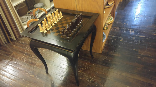 Bombay Game Table with Vintage Ceramic Chess Set
