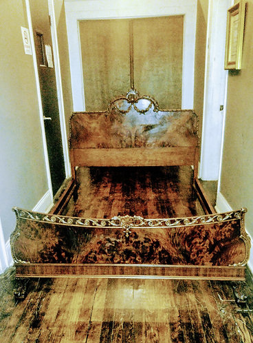 Antique Burl and Carved Wood Bed