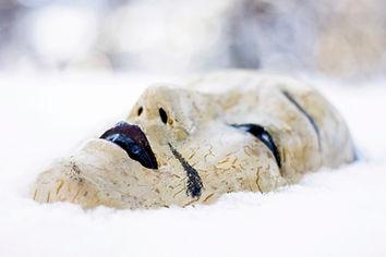 Eine Maske im Schnee, da. Gesicht nach oben zum Himmel gerichtet. Aus der Bildperspektive wirkt sie beinahe traurig. Die weiß-gelbliche Farbe ist brüchig, die Lippen, Nasenlöcher, Augen und Augenbrauen heben ich durch ihre schwarze Bemalung hevor. Ein schwarzer Strich neben dem Mund könnte einen Bart andeuten.