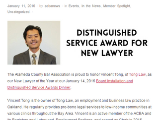 ACBA: Distinguished Service Award for New Lawyer
