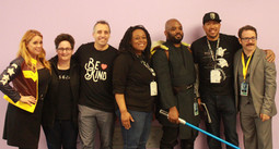 Chase Masterson, Activist Jo Garfein, Impractical Jokers' Joe Gatto, Curriculum Editors Vanèe & Brandon Matsalia, Arrow Co-Executive Producer Deric Hughes, Love is Love Contributor David Avallone at WonderCon in Anaheim, 2018.