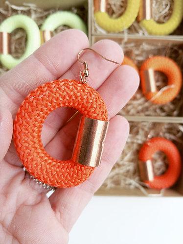 Orecchini in corda nautica arancione