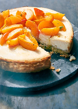 Labneh Cheesecake with Roasted apricots bubble. magazine