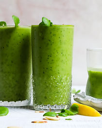 Green breakfast smoothie boost immunity bubble. magazine