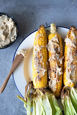 BBQ Corn with Tahini Butter recipe bubble. magazine