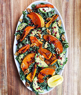 Kale and roasted pumpkin salad recipe bubble. magazine