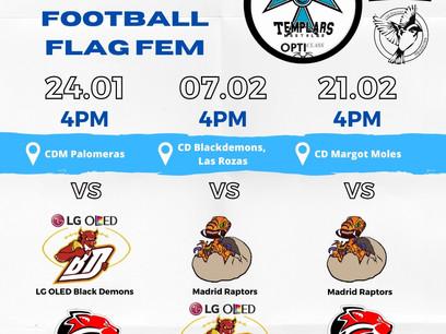 ¡Nuestro calendario para la liga Madrileña de Football Flag Femenino!