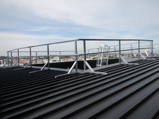 Height safety and ladder access system installation.