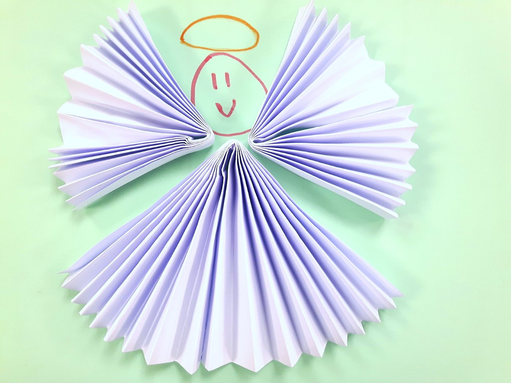 Angels made from folded paper