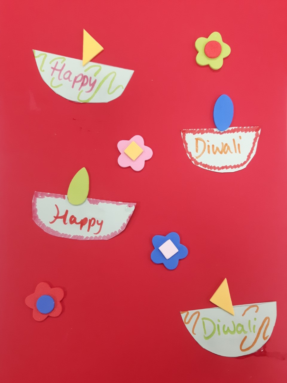 Create Diwali inspired flames from foam cut-outs