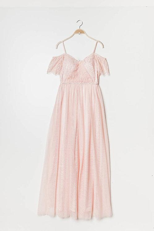 Abendkleid aus Spitze & Tulle rosé