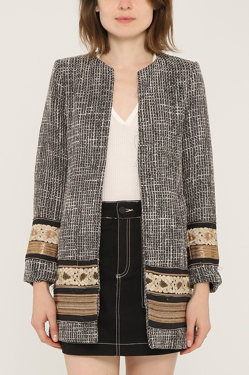 Embroidered Bouclé Coat