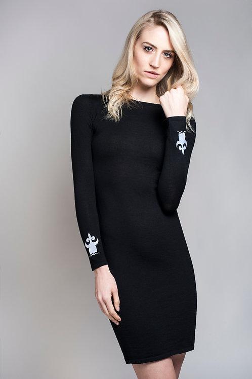 Strickkleid aus Merinoschafwolle schwarz