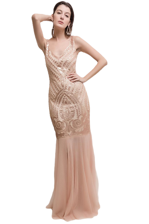 Embroidered Sequinegown