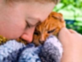 child hugging an orange cat