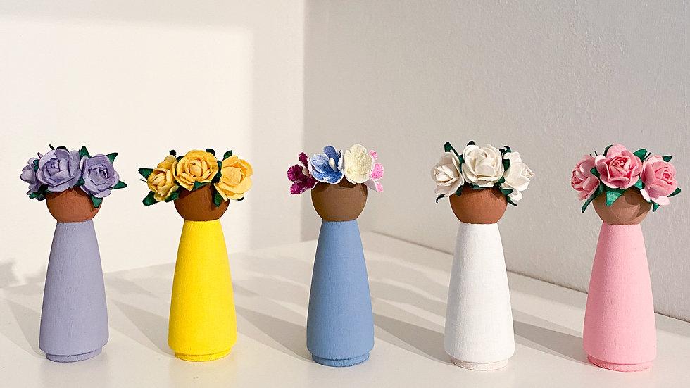 Floral peg dolls