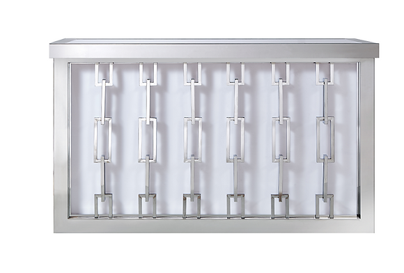 Modern White and Silver Chain Lighted Bar