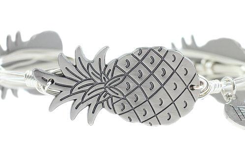 Pineapple Silver Bangle