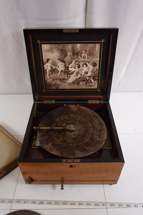 1900s Polyphon Disc Music Box W 13 Discs By Ca Bauer- Works