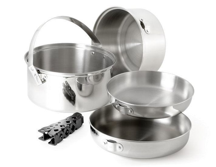 GSI OUTDOORS GLACIER STAINLESS COOKSET – LARGE