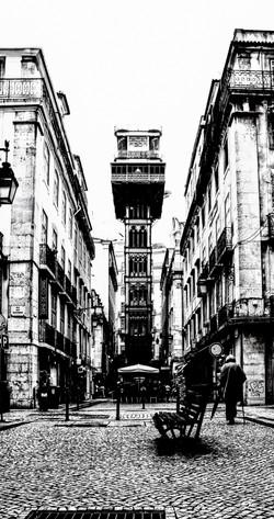 Lisbon elevator old elderly walking