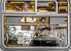 Inside the bus in SF
