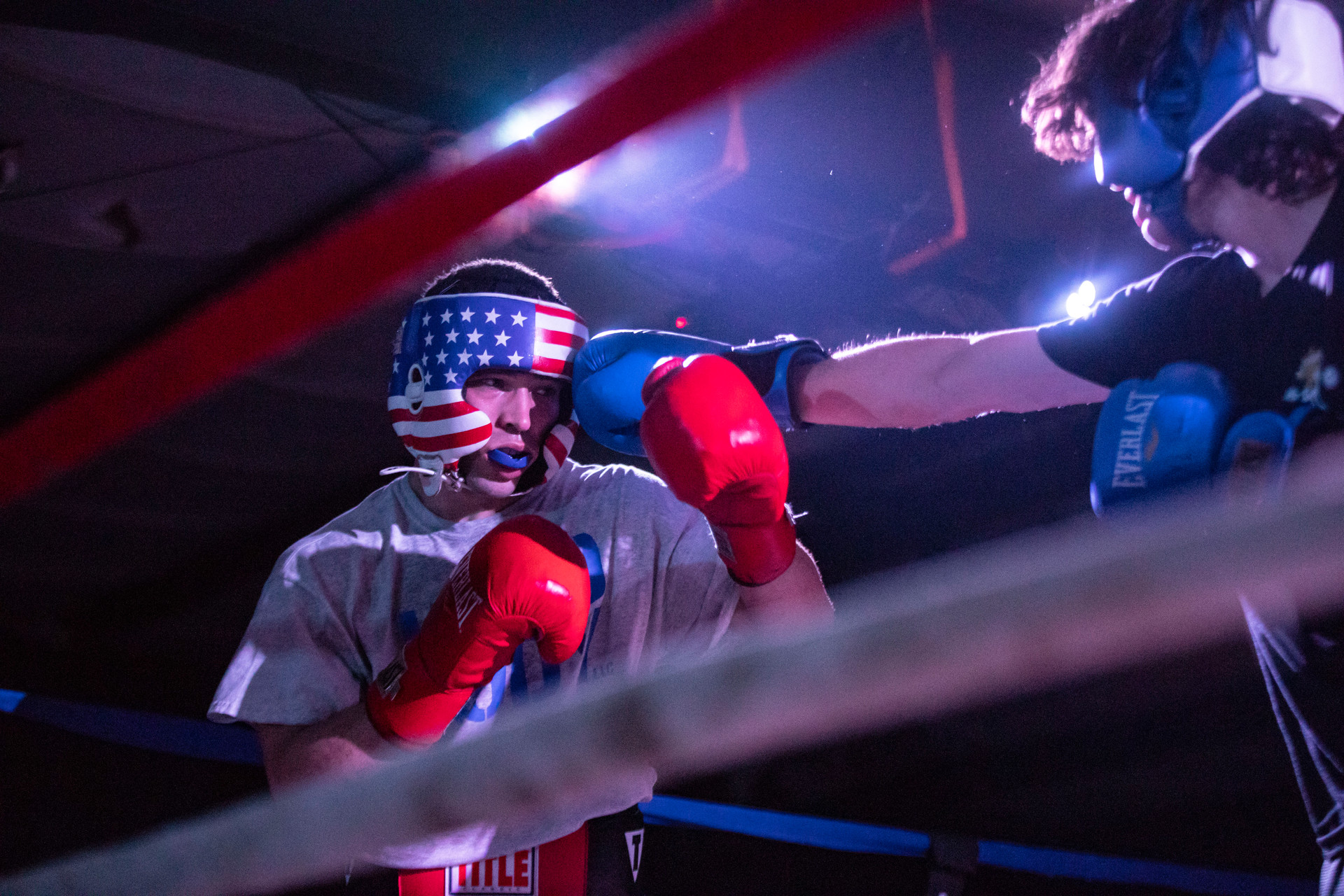 Garrett Strickler, a member of the Sigma Chi fraternity at Western Kentucky University, participates in his first Fight Night on Saturday, April 7th, 2019 in Bowling Green, Kentucky. Fight Night is a boxing event hosted by the Sigma Chi fraternity chapter at Western Kentucky University in order to raise money for cancer research.