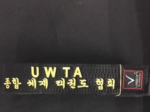 UWTA Embroidered Black Belt