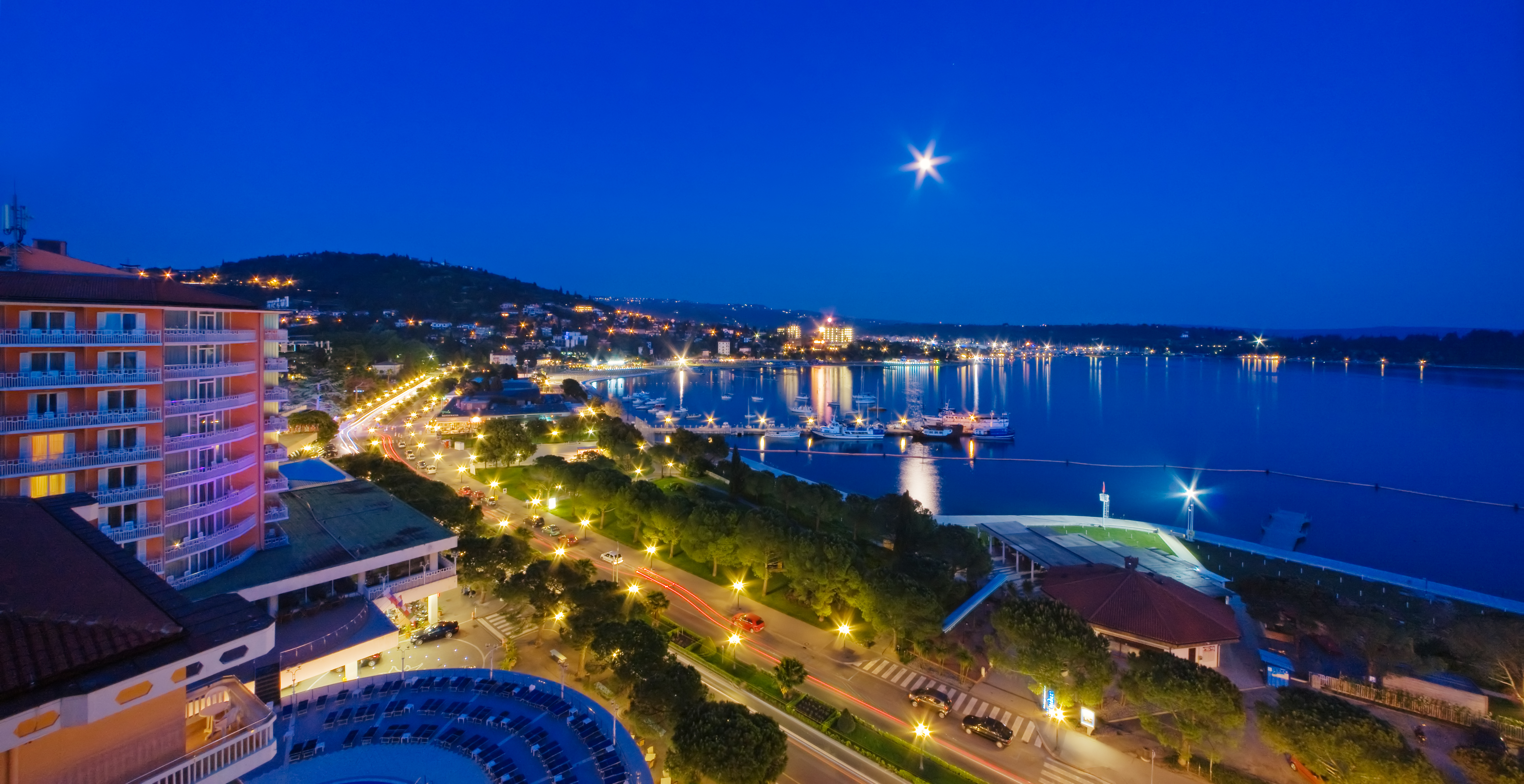 Portoroz promenade - view from Slovenija and Riviera Hotels
