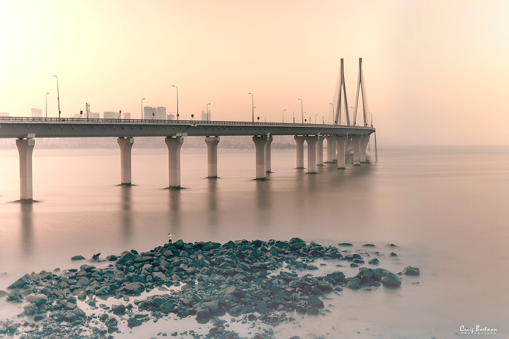 Bandra-Worli Sealink. Mumbai, India. A long exposure shot of the bridge.
