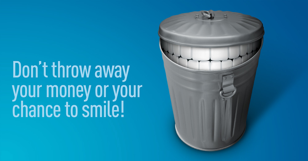 trash can with teeth smile dental insurance benefits