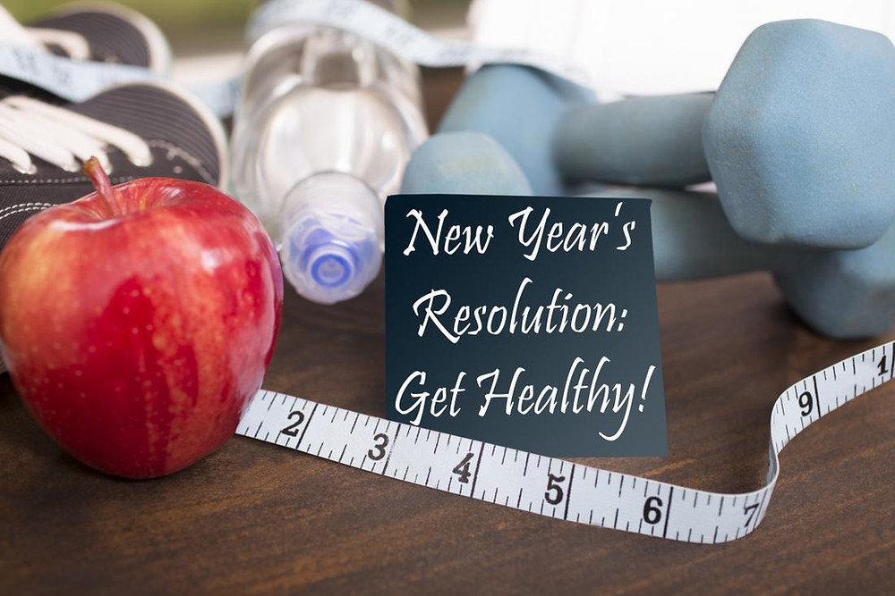 apple, water, healthy diet  - new year's resolutions