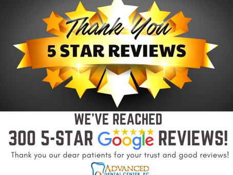 We've reached 300, 5-star reviews on Google!