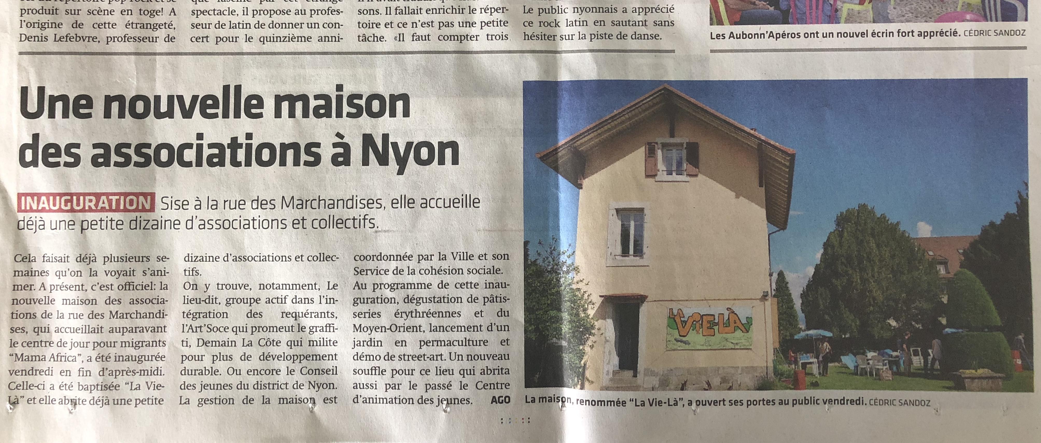 Article La Côte 1ier juin 2018