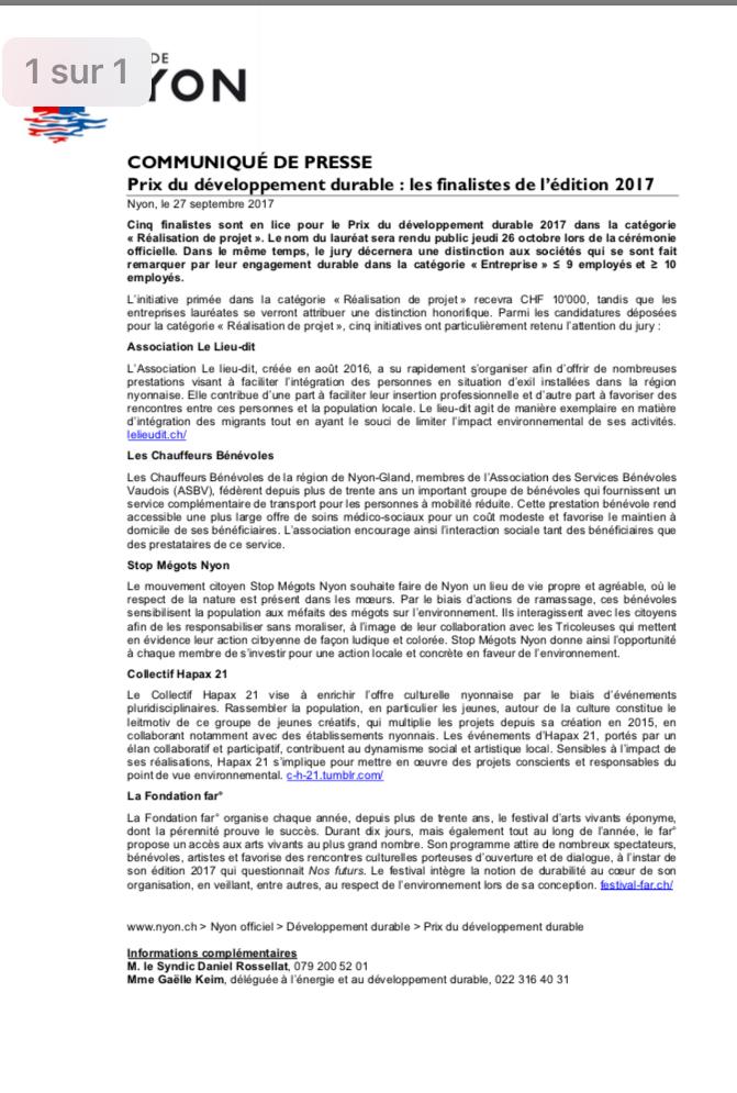 CP Prix développement durable
