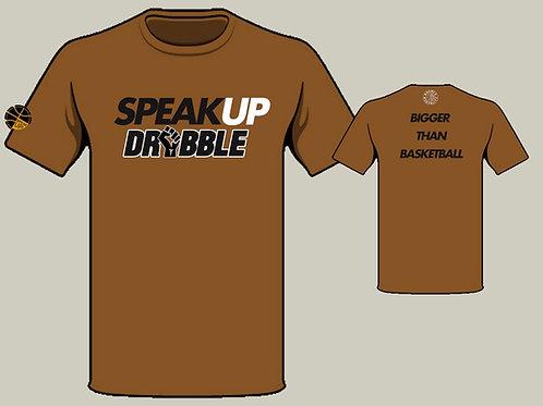 HOOPER MENTALITY- Speak Up and Dribble T-Shirt: Gold