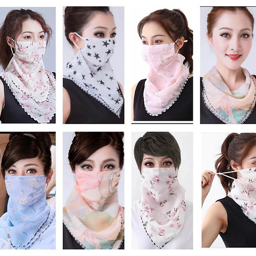 Face Mask Reusable Washable Cloth Bandanas Women Neck Gaiter Cover Ear Loops