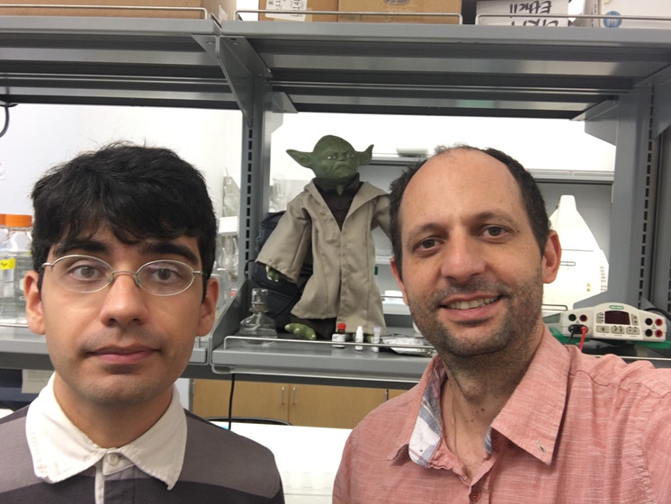 Research Associate Alper Ozkan (left), Jedi master Yoda (a.k.a Piezo1 agonist, middle), Assitant Professor Jerome Lacroix (right)