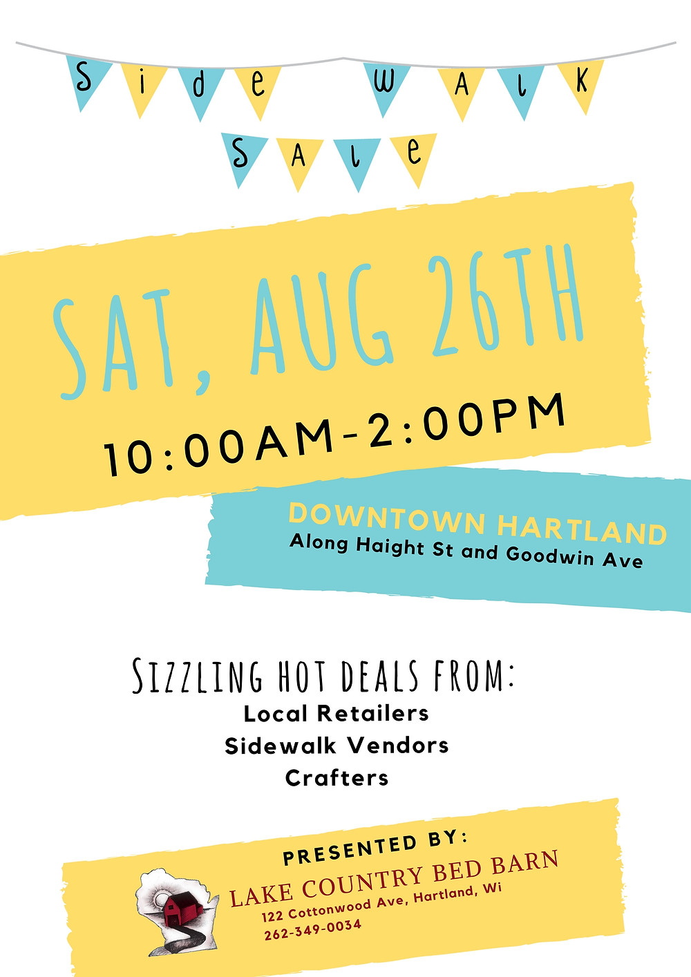 Sidewalk Sale Aug 26, 10-2