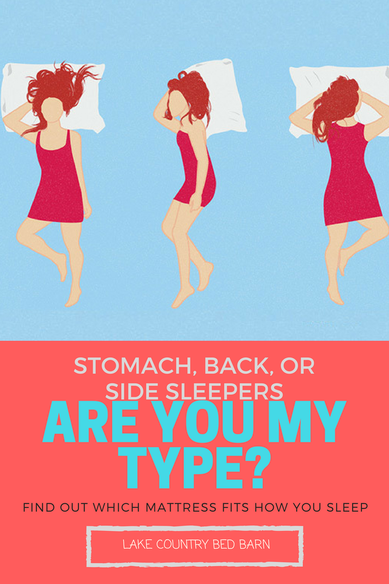 Are my type?  Find out which mattress best suits you're sleeping style: stomach sleeper, back sleeper and side sleepers.