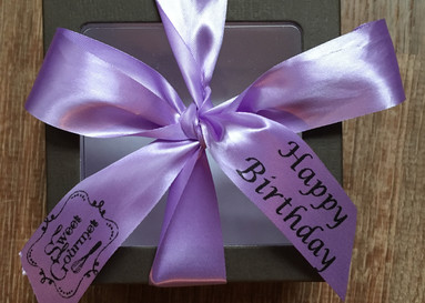 Small box with happy birthday message.