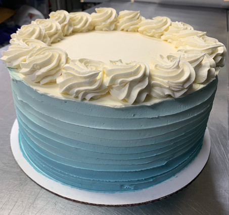 Blue and White Buttercream Cake.