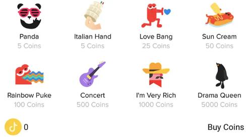 Tiktok gifts that fans reward to creators using coins