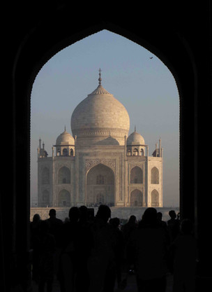 A First View of the Taj Mahal, Early Morning, Agra, India
