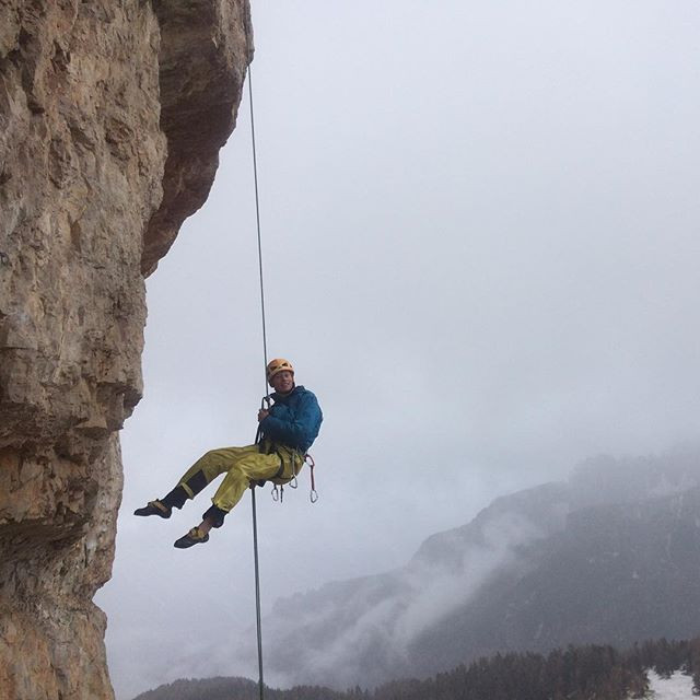 Abseiling in the Italian Dolomites. Rock Skills.