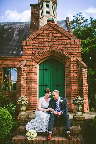 small brick chapel happy couple