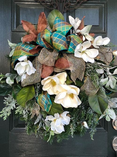 Magnolias and succulents wreath