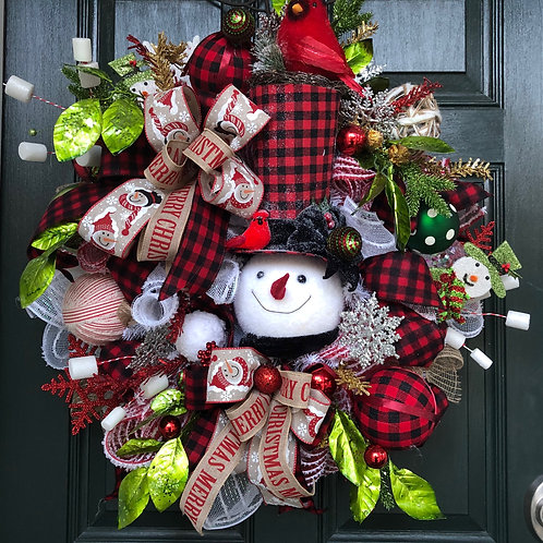 Buffalo check snowman wreath, snowman wreath, Christmas snowman wreath